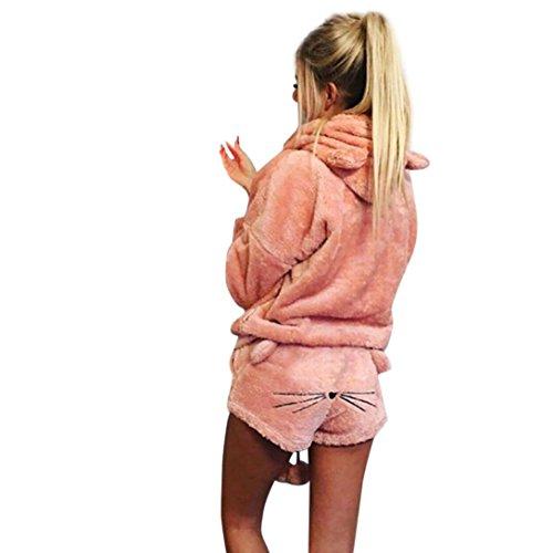 Lucky Mall Sleepwear Frauen Winter Warm Zweiteilige Nette Katze Pyjamas Hoodie Nachtwäsche