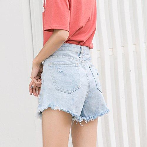 NiSeng Damen Hohe Taille Breites Bein Persönlichkeit Loch Jeans Kurze Hose A-Linie Unregelmäßigen Saum Haar Fransen Jeans Short Hellblau
