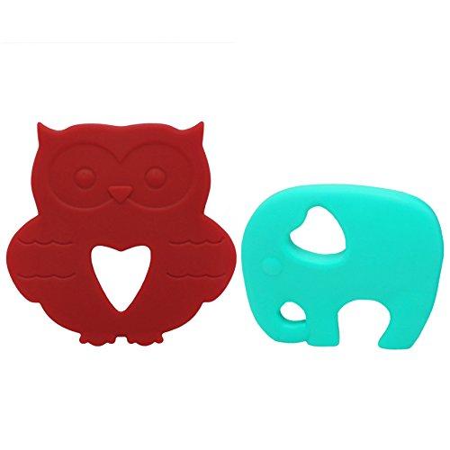 AILAMS Baby-Dentitionspielzeug, BPA-frei FDA zugelassene Lebensmittelqualität Silikon, Kleinkinder Beißring Ring (Türkis Elefant und rote Eule)