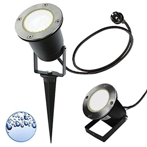 LED Erdspießleuchte / Außenleuchte / Edelstahl / Gartenstrahler / Bodenleuchte / RUND-136241 / GU10-230V (Kaltweiß)