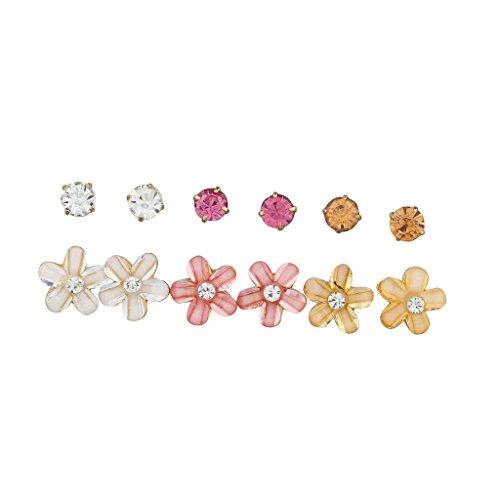 LUX Zubehör Elfenbeinfarben Pfirsich Ohrstecker Pink und Blumen Floral Multi Ohrringe, Set 6 (Halloween Zubehör Bulk)