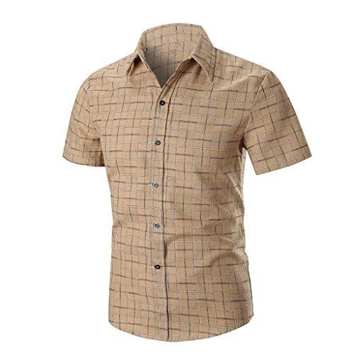 8d9856bb NINGNETI Splicing Lattice Gradient Casual Fashion Men's Lapel Camisetas De  Manga Corta para Hombres
