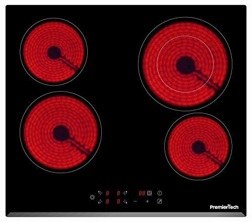 PremierTech Piano Cottura Vetroceramica 4 Fuochi da incasso 60cm PT-PC4C Display Led Touch Control vetro front smussato