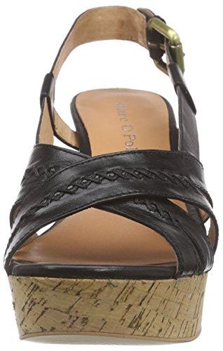 Marc O'Polo Wedge Sandal, Sandales Plateau femme Noir - Noir (990)