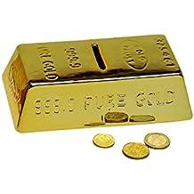 Hucha Lingote de oro, Lingote de oro Hucha con llave y candado, Hucha con cerradura
