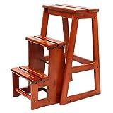 ZENGAI Holzleiter Tritthocker Kinder Treppe Tritthocker Multifunktions-Küchen-Klapp-Haushalt Trittleiter Aus Holzleiter, 2 Farben (Farbe : Gelb)