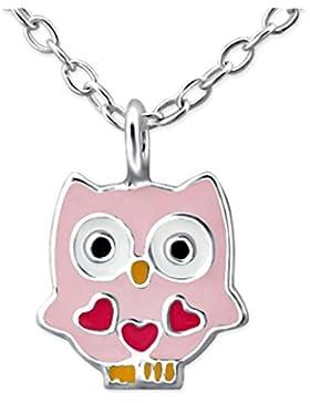 JAYARE Kinder-Halskette Eulen 925 Sterling Silber Emaille 39 cm rosa pink Anhänger
