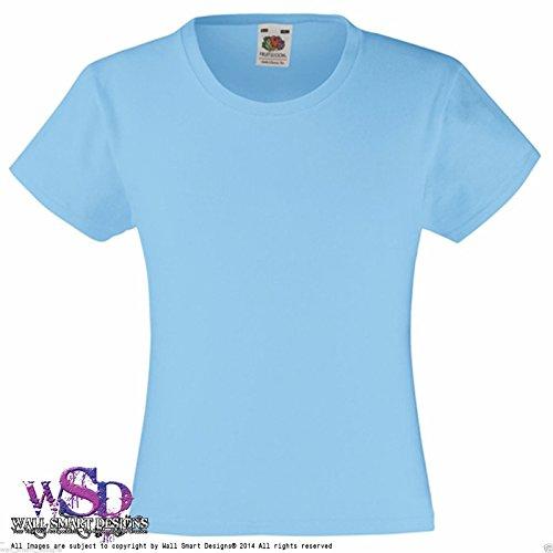 FRUIT OF THE LOOM Die kinder Mädchen Einfarbig Blank Bedruckbar Wert Gewicht T-SHIRT Top - Himmelblau, Siehe Beschreibung (Siehe Farbkarte)