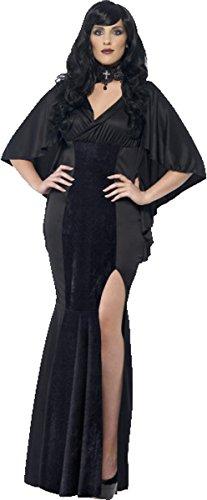 Damen Erwachsene Halloween Vampire Fancy Party Outfit Kurven Vamp Kostüm schwarz Gr. UK Kleid 50-52, schwarz