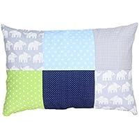 Funda de almohada para bebé de ULLENBOOM ® de 40x60 cm con elefantes azul verde (con cremallera; apta también para cojines decorativos; dibujo:patchwork)