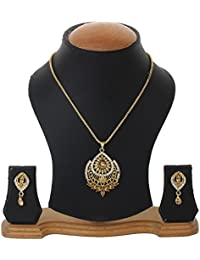 Bling N Beads 18K Gold Plated Chain Pendant Set With Earrings Perfect Diwali Gift For Her