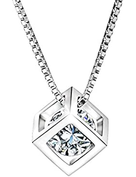Dothnix Damen Kette Würfel Anhänger Halskette 925 Sterling Silber mit Kristall Steine Weihnachten Geschenk