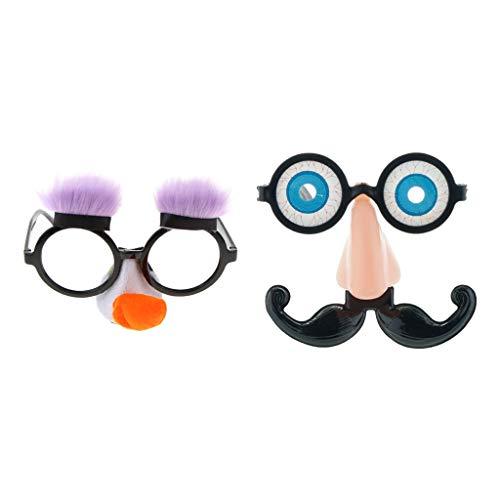 F Fityle 2X Spaßbrille Partybrille Brille mit Augen Bart und Nase