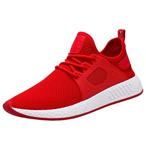 huhe Freizeitschuhe Leichte Mode Sport Gymnastikschuhe Sneaker(Rot,42 EU (CN:43)) (Schuh-schnürsenkel-lichter)