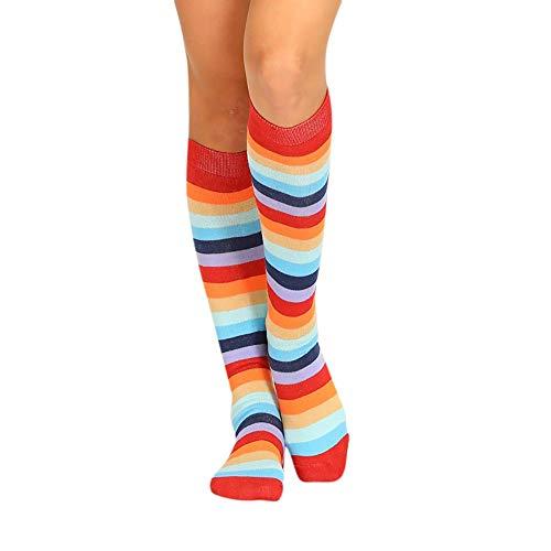 Jurtee - calze donna,calze alte con striscia colorata elastiche,calzini invisibil socks antiscivolo elastiche,calze sportive, 1 paio
