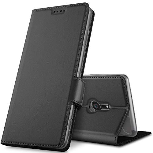 GeeMai Sony Xperia XZ3 Hülle, Premium Sony Xperia XZ3 Leder Hülle Flip Case Tasche Cover Hüllen mit Magnetverschluss [Standfunktion] Schutzhülle handyhüllen für Sony Xperia XZ3 Smartphone, Schwarz