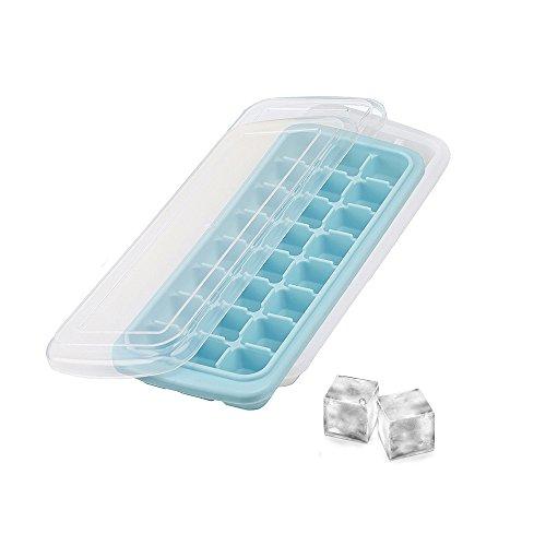 MansWill 2 Stück Eiswürfelformen für Heißer Sommer, 24 Blöcke Essen-Grade Silikon Ice-Making Box Molds/Wiederverwendbare Gefrierschrank Vorratsbehälter für Babynahrung mit Deckel