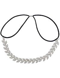 LUX accesorios plateado Rhinestone hojas diosa ocasión especial Headwrap