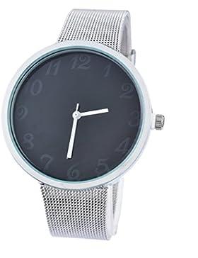 Souarts Damen Silber Farbe Edelstahl Uhrarmband Armbanduhr Quartzuhr Analog Armreif Uhr mit Batterie Schwarz
