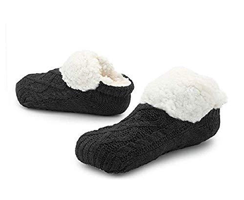 CityComfort Zopfmuster Super Soft Slipper Socken Männer,Schwarz,37-41 EU