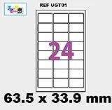 240 étiquettes pour timbre soit 10 planches de 24 étiquettes L7159 63,5 x 33,9 mm compatible montimbre en ligne (l7159) ref ugt01-10 marque UNIVERS GRAPHIQUE - FACTURE AVEC TVA DEDUCTIBLE