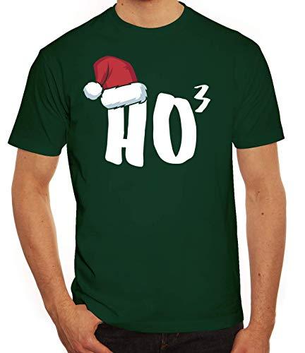X-Mas Winter Weihnachts Herren Männer T-Shirt Rundhals Weihnachtsmütze Ho3, Größe: 3XL,dunkelgrün