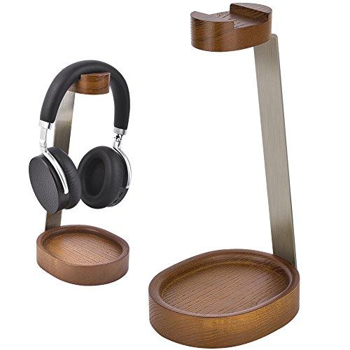 Soporte Auriculares de Madera Bambú & Metal Grueso Aluminio Soporte para auriculares de madera colgador para soporte de auriculares (B)