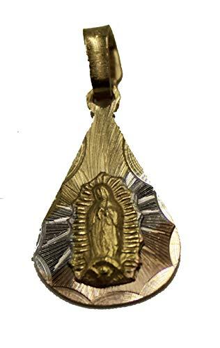 Diamantados of Florida Virgen de Guadalupe Medalla - Nuestra Señora de Guadalaupe Medalla de Gota Chapado en Oro de 14 K Tres Tonos Colgante de Oro con Cadena de 50 cm