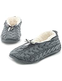afc0b1cc6ca Ladies Cable Knit Slippers Luxury Super Soft Fluffy Winter Ballerina  Slippers Women