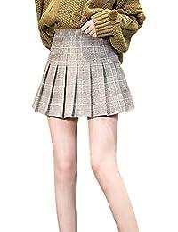 YXYP Falda Mujer Plisada Falda Mini Corto Falda Elástica Falda Cuadros Básica  Multifuncional para Mujeres 5ab3e6c573f1