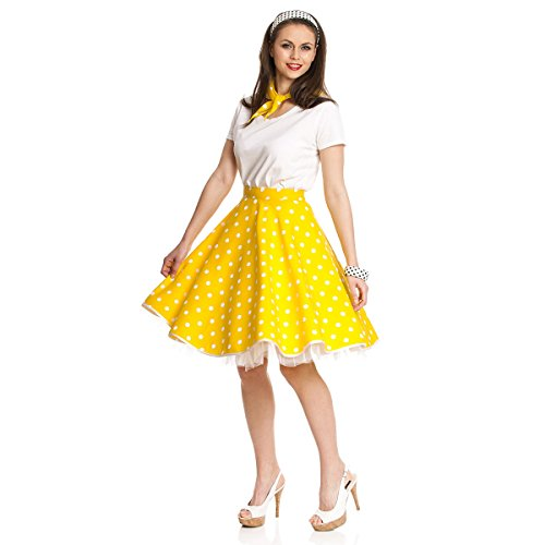 Kostümplanet® Rock´n Roll Kostüm für Damen Teller-Rock gelb Knielang mit Halstuch im 50er Jahre Stil Rockabilly Damen - 50er Jahre Stil Kostüm