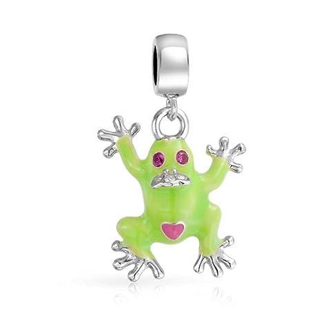 Bijoux en argent Sterling 925 Bling Green Frog Prince Charme Dangle