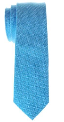 Retreez Corbata de microfibra fina a rayas en espiguilla pequeña para hombres Azul claro