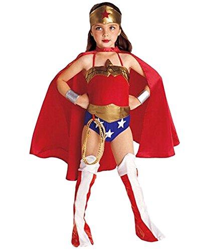 (ShallGood Halloween Kostüm Für Jungen Mädchen Hexe Wonder Girls Mit Stirnband Kinder Kostüm Kleinkind 90Cm Umhang Held Cosplay Wonder Girl S(95-105Cm))