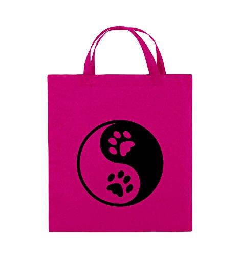 Comedy Bags - YING YANG - PFOTE3 - Jutebeutel - kurze Henkel - 38x42cm - Farbe: Schwarz / Pink Pink / Schwarz
