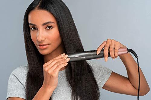 Remington Curl & Straight Confidence S6606 – Plancha de pelo profesional, alisador y rizador 2 en 1, cerámica, digital, color gris