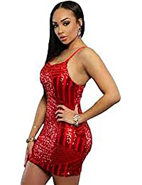 3c0abe9c89 Betty-Boutique Red Sequin Cross Straps Back Club Dress Size 8-10