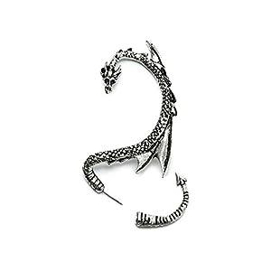 Serebra Jewelry Dragón Pendientes manguito de oreja con tonos plateados 10