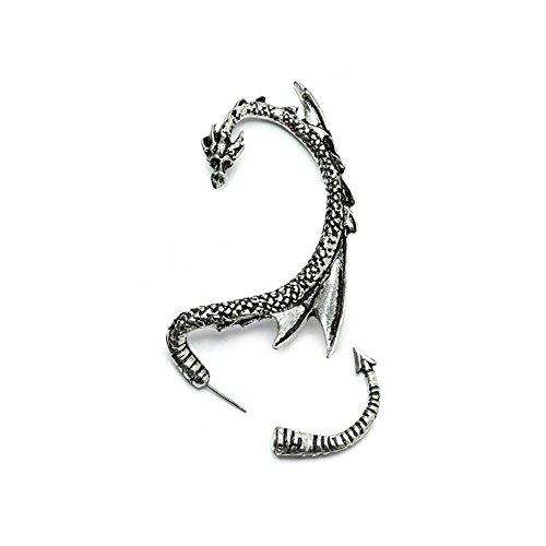 Dragón Pendientes manguito de oreja | con tonos plateados | by Serebra Jewelry (Oreja izquierda)