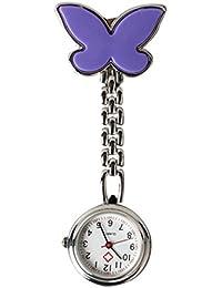 Rokoo Reloj de bolsillo de la tabla de la enfermera de la mariposa con el clip de la cadena de la broche