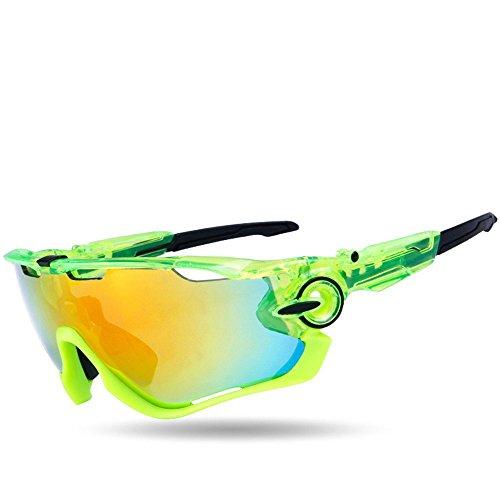 Fahrrad Brille Sonnenbrille für Herren und Damen, Polarisiert Radbrille Sportbrille mit 3 wechselgläser, UV400 Schutzbrille für Sport Radfahren Skifahren Fishing Angeln (Shinny)