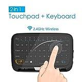 2.4 GHz mini tastiera del mouse senza fili con touchpad intero pannello, tastiera portatile ricaricabile palmare per Android/Google Smart TV, Linux, Mac, Windows PC, HTPC, Raspberry Pi, XBOX 360, PS3