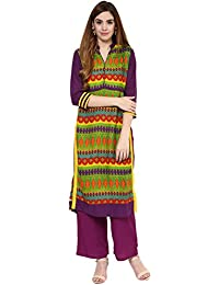 Jaipur Kurti Rayon Complete Set Of Multi Kurta And Purple Rayon Palazzo