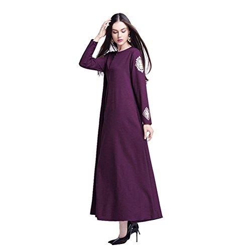 Haodasi Damen Kaftan Islamic Abaya Kleid Muslim Islam Middle East Lange Ärmel Printing Maxi Kleid Arab Robes Purple