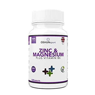 Zinc and Magnesium Tablets   120 Tablets   With Added Vitamin B6   Sports Performance and Recovery Formula   OSHUNsport by Opal Health