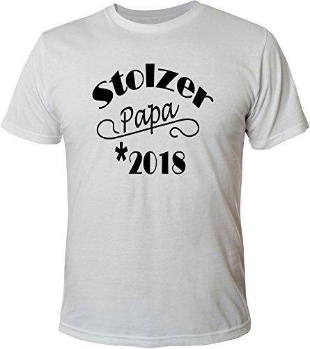 Mister Merchandise Herren Men T-Shirt Stolzer Papa 2018 Tee Shirt bedruckt Weiß