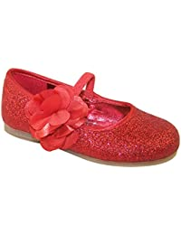 103628029b9 The Sparkle Club Infant girls red glitter ballerina shoes with satin flower  trim