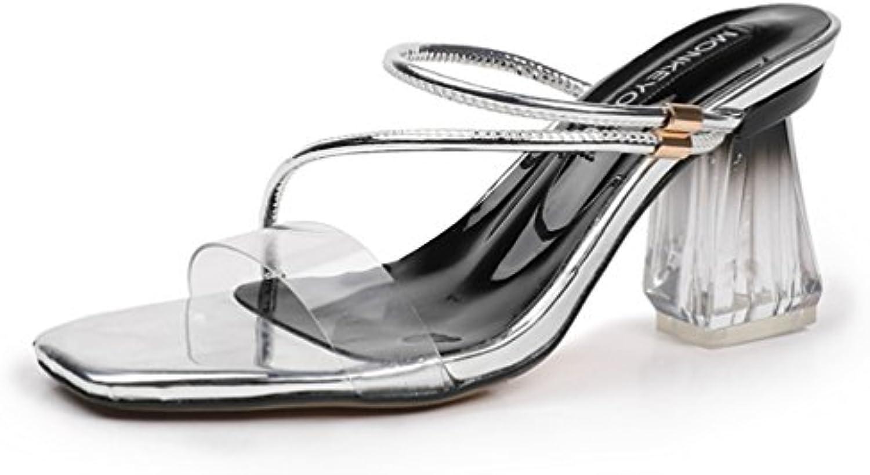 Mules pour Femmes Hauts Talons Épais Chaussures Bout Ouvert Carré Élégant Lanières Élégant Carré OL  sB07FXPJ23KParent 15ca3f