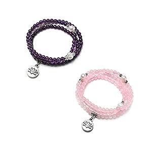 CrystalTears 108 Perlen Armband 4mm Amethyst/Rosenquarz Buddha-Armband mit Lotus Anhänger Wickelarmband Mala Kette Tibetische Halskette Gebetskette