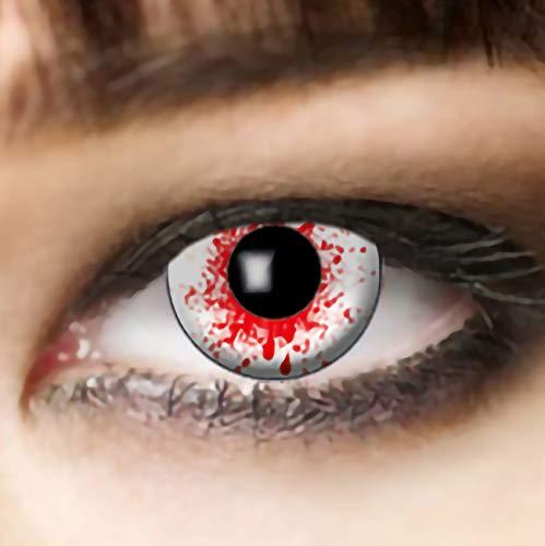 Funlinsen 3-Monatslinsen weiß Bloodshot, white Zombie, Kontaktlinsen, Dracula